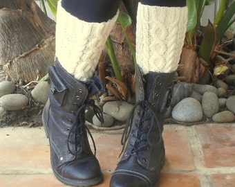 Cream Boot Cuffs Boot Toppers In Cable Pattern