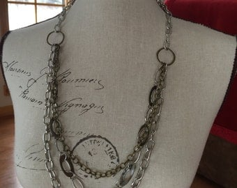 Long multi chain necklace in various colors and metal chain