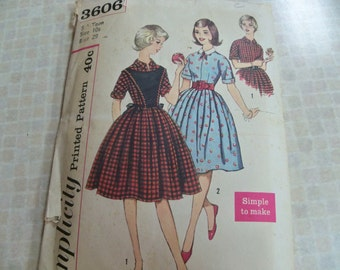 Mid 50s Simplicity 3606 Size 10s Sub-Teen One Piece Dress Plastron Sewing Pattern Supply Kimono Sleeves Pleated Skirt Self Cuffs c
