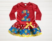 Monkey Dress Baby Toddlers 6 12 18 24 Months Girls 2 3 4 5 6 8