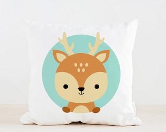 Animal Deer Nursery Pillow, Kids Pillow Cushion, Home decor