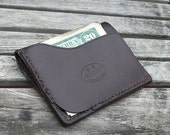 GARNY No.9 -  Card and  dollar bill wallet  / Minimalist  wallet from dark brown leather -bl