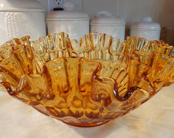 "Fenton Art Glass Amber Thumb Print Double Crimped Ruffled Console Bowl (11 1/4"" diameter)"