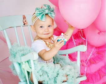Mint tutu birthday outfit, birthday girl outfit, first birthday girl outfit, mint and gold, gold custom shirt, girl birthday outfit,