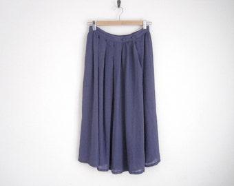 Vintage 80s Skirt. Striped Purple Skirt. Sheer High Waist Skirt With Pleats. Side Button Flowy Gathered Skirt.