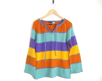 Vintage 70s Sweater. 70s Stripe Top. Bright Rainbow Stripe Shirt. Oversized Sweater. Light Summer Sweater. Beach Coverup. Knitted Boho Shirt