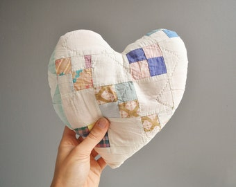 Vintage Patchwork Heart Pillow