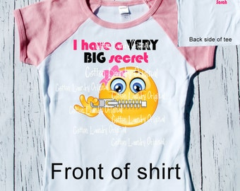 "Big Sister to be hipster ""I have a BIG secret"" pregnancy announcement t-shirt"