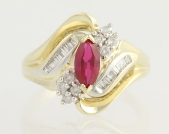 Synthetic Ruby and Diamond Bypass Ring - 10k Yellow & White Gold July 1.00ctw N1353