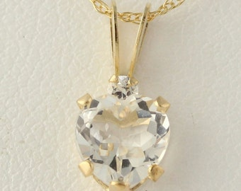 "Heart Pendant and Necklace - 10k Yellow Gold White Topaz & CZ Dangle 18"" Chain mq1653"
