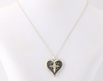 "Daughter's Sapphire Heart Pendant Necklace 20"" - Sterling Silver & Gold Plated Q4007"