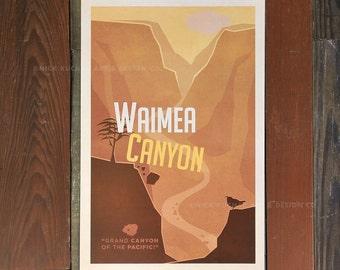 Waimea Canyon - 12x18 Retro Hawaii Travel Print