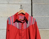Vintage Handmade Western Shirt with Embroidered Work, Cowgirl, Ranch Clothing, Southwestern, Snap Buttons