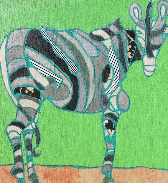 zebra mini painting on wood 383 by planetprahler on etsy. Black Bedroom Furniture Sets. Home Design Ideas