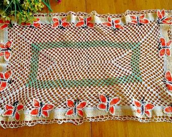 Vintage Large Doily Butterfly Centrepiece Doilies Crocheted Doilys  D29