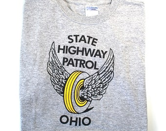 Ohio State Highway Patrol T Shirt Tire with Wings Kids Size Large