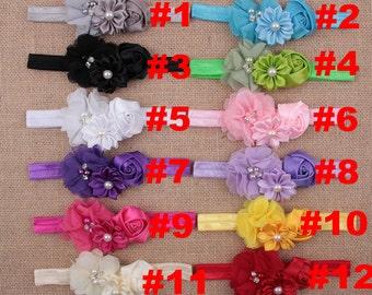 Set of 12 girl headbands, little girl hair band  - satin ribbon flower hair bands - baby stretchy headband - girl headband-12 colors to pick