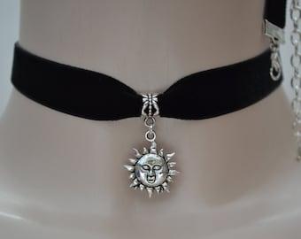 RUSTIC SUN Charm 16mm BLACK Velvet Ribbon Choker - ic.. or choose another colour velvet :)