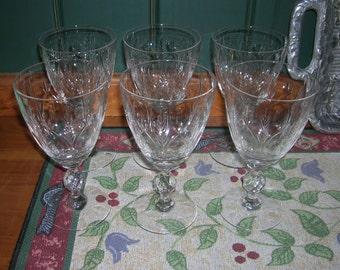 6 Beautiful Vintage Mid Century Wheel Cut Crystal Glass Water Goblets Arches Fans & Diamond Cut Ball Stem
