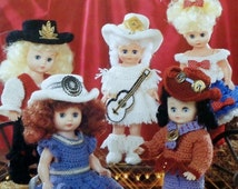 """20%OFF American School Of Needlework 13"""" COUNTRY WESTERN Dolls Cowgirl - Crochet Doll Clothes Clothing Patterns"""