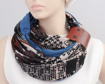 SALE  infinity scarf with genuine leather cuff bracelet ,Loop scarf