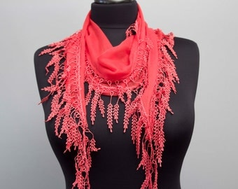 Fringed lace scarf ,triangle lace scarf , guipure scarf ,woman scarf, plain , coral