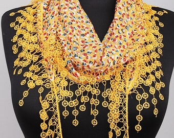 Fringed lace scarf ,triangle lace scarf , guipure scarf, floral yellow woman scarf