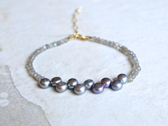 Labradorite & peacock pearl beaded bracelet / 14k gold filled