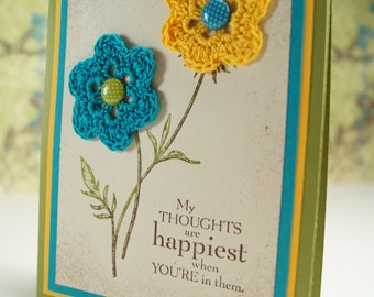 Thinking of You Card - Handmade Card - Floral Cards - Crochet Flower Card - Card For Friend - Flower Card - Card For Her - Card For Mom