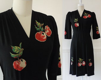 Cherry Applique 40s Dress --> Vintage 1940s Dress --> 1940s Vintage  -->  1940 Dress --> Black Dress --> Black 40s Dress --> Novelty Print