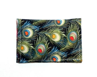 Business Card Holder - Peacock feathers in green, teal blue, gold and red.