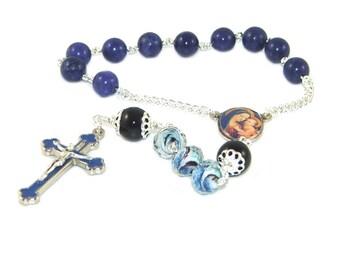 Madonna & Child Pocket Rosary, Catholic Prayer Beads, Decima Rosary