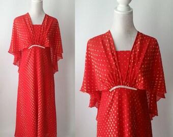 Vintage Dress, Red Vintage Dress, 1970s Red Dress, Red & Gold Dress, 70s Dress, Chiffon Red Dress, Retro 70s Dress, Formal Red Dress, Silk