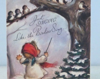 Vintage Christmas Card Marjorie Cooper Rust Craft
