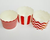 Cupcake Baking Cups, 20 Red Baking Cups, Candy / Nut Cup, Baking Cups, Ring Stripe, Vertical Stripe, Chevron, Muffin Liners, Cupcake