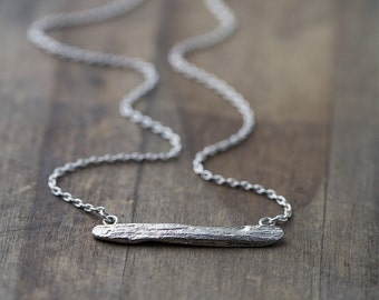 Silver Driftwood Bar Necklace, Sterling Silver Necklace Handmade, Gift for Her, Handmade Jewelry Gift, Stocking Stuffer