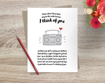 Thinking of You Funny Love Song Greeting Card  Love Greeting Card Quirky Stationery Card for Friend Music Love Birthday Anniversary Retro