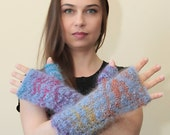 Mohair Blue FINGERLESS GLOVES Hand Knit Gloves by Solandia, Blue Long Arm Warmers, Knitted Winter Gloves, knitted gift, spring fashion