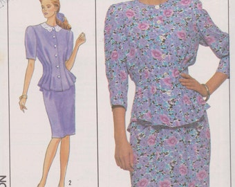 "Womens 80's Sewing Pattern Simplicity 9038 Two-Piece Dress Size 6 Bust 30.5"" UNCUT"