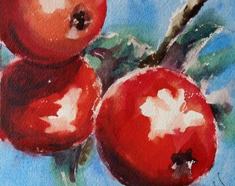 "still life, apples, fruit, kitchen art, red, green, blue sky. Red Apples III- Original watercolor painting (6"" x 6"")."