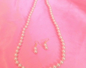 Vintage Hand Knotted White Imitation Glass Pearl Necklace and Earring Demi Parure