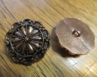 """FANCY Antique Rose Gold Tone STARBURST Buttons - 1-3/8"""" (35mm) Round - BULK Lot of 25 - Perfect for Handmade"""