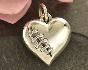 Sterling Silver Mended Heart Charm  - Nurse Charms, Great Gift for Doctors, Love, Heartbeat, Cardio Charm, Broken Heart, New Design