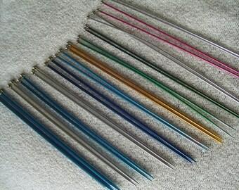 Destash Knitting Needles #2, Boye Aluminum Knitting Needles, 12 pair Needles, 7 sizes, Good Starter Needle Collection