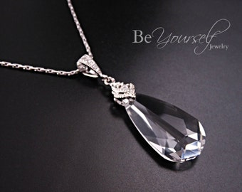 Clear Crystal Bridal Necklace Teardrop Bride Necklace Swarovski Crystal Wedding Pendant Cubic Zirconia Bridesmaid Gift CZ Wedding Jewelry