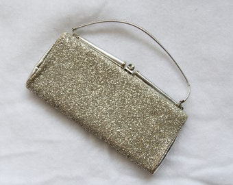1960s Silver Glitter Purse Cocktail Prom Rectangle Shape Holiday Glimmer Womens Vintage Handbag Clutch