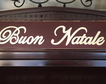 Buon Natale Merry Christmas in Italian Italy Sign Plaque HP Wood Holidays U Pick Color New Script