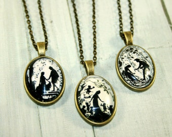 Fairy Tale  Silhouette Necklace bronzecolored to choose - cinderella- sleeping beauty- snowwhite- sweet gift for friends,sisters or yourself