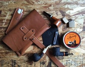 Ready to Ship! The Maverick - Magnum Pipe Pouch in Leather - Tan w/Nickel hardware