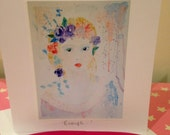 Enough - Titled individual blank greeting card / note card  | woman, girl, mother, flowers, portrait, pastel, feminine art, purple, orange,